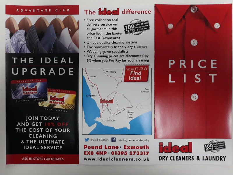 Ideal Dry Cleaning leaflet